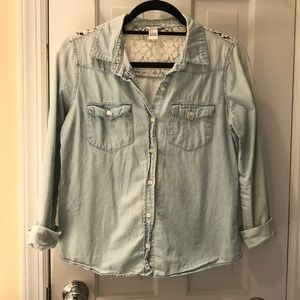 Forever 21 Canvas Button Down with Lace Back